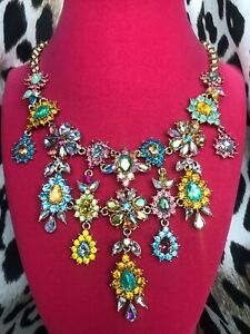 Betsey Johnson Paradise Lost Crystal AB Embellished Flower Opal Drop Necklace