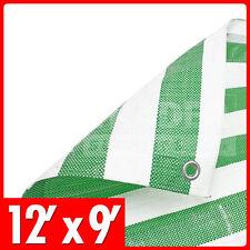 2.7m x 3.6m Green White Stripe Tarpaulin Market Stall Cover Heavy Duty Striped