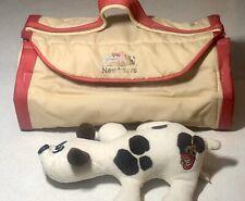 VIntage 1986 Pound Puppies Newborns Kennel Case + 1 White Puppy Brwn Spots Tonka