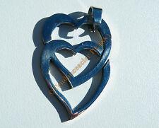 Collier Pendentif Acier Inox 2 Coeur Entrelaçé + Chaine