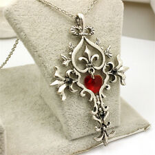 Silver Plated Yuampire Diaries Red Crystal Heart Cross Pendant Necklace
