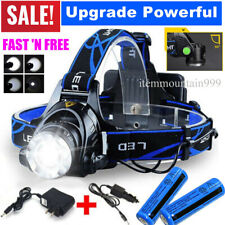 USA Rechargeable 350000LM Headlight LED Headlamp Tactical Head Torch Lamp Light