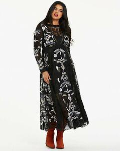 BNWT Joanna Hope Plus Size Curve Embroidered Maxi Dress Black UK 30