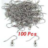 100x Silver Plated Earring Hooks Wth Ball&Coil X100 craft earings part SH