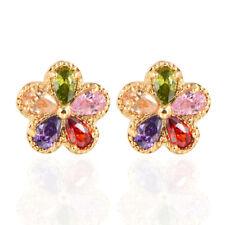 Women Multi-color Flowers AAA+ Cubic Zirconia CZ Stones Stud Earrings Jewelry