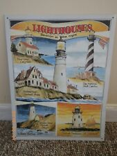 Tin Metal Sign Lighthouses Beacon in the Night by Bob Bates California Maine