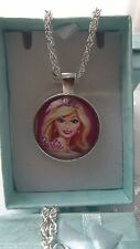PRINCESS  BARBIE  SILVER PINK  NECKLACE SIZE  3,4,5,6,7,8,9 Year GIFT BOX PARTY