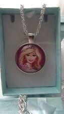 Collar Rosa Princesa Barbie Plata Talla 3,4,5,6,7,8,9 año de Caja de Regalo Fiesta