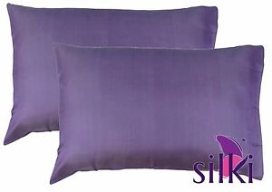 LILA PURPLE: 1 Pair 100% Pure Silk Pillowcases covers 25 momme QUEEN STANDARD