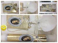 New Baptism/Christening 5pc Unisex Gift Set>Rosary/Candle/Missal/Shell/Spanish