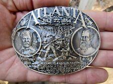 New listing Vtg Atlanta Belt Buckle 1864 Civil War Adm Sherman Blue Gray Nisp Brass Rare New