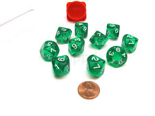 Pack of 10 Transparent 10 Sided D10 16mm Dice - Green