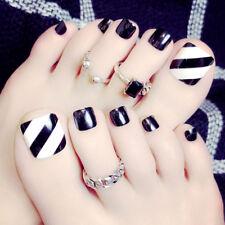 24 X Summer Foot False Nail Tips Black Fake Toes Nails Stripe Toe Art Gift Tool