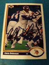 Chris Doleman Signed 1991 Upper Deck Card HOF Minnesota Vikings