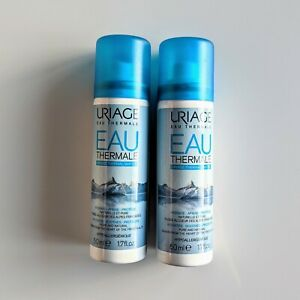2 x URIAGE Eau Thermale Thermal Water Hydrates Soothes Protects  2 x 50ml Travel