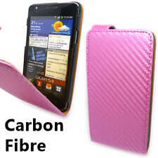 Slim Pink Carbon Fibre Flip Leather Case Cover for Samsung Galaxy S 2 II S2 +SP