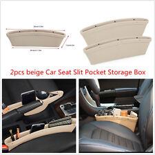 New 2× Catcher PU Box Caddy Car Seat Gap Slit Pocket Storage Organizer Box Beige