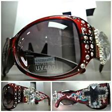 Montana West American Flag Bling Burgundy Red Round Frame Sunglasses W CARRY BAG