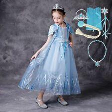 Little Girls Princess Elsa Costume  Dress Up Birthday Party Kids Elsa Frock