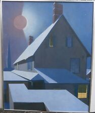 """Eclipse of the Sun over Buildings 40"""" x 32"""" Oil Painting-1969- Hans Weingaertner"""