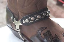 stiefelschmuck  stiefelkette  stiefelriemen stiefelband  neu leder black