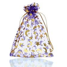25PCs 13x18cm Premium Purple Moon&Star Organza Gift Bags Pouches Wed/Christmas