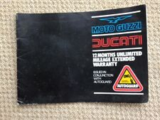 Moto Guzzi and Ducati Extended Warranty Book
