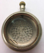 ANTIQUE OPEN FACE SILVER PLATED CRESCENT POCKET WATCH CASE w/o CRYSTAL  **