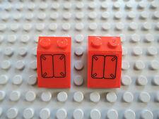 Lego 2 x Schrägstein 3298pb044 rot  3x2  Sticker 7701