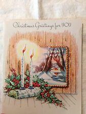 Vintage Christmas Greeting Card Candles Burning Holly Berries Winter Yule Log