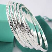 5Pcs 925 Silver Filled Carving Cuff Bracelet Bangle Jewelry Sets For Women