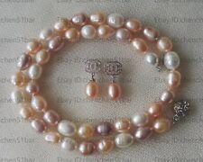 Perle Set-8-9mm mehrfarbige Süßwasser Perlenkette Ohrringe