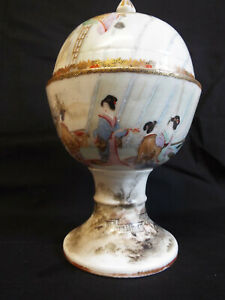 Fabulous antique Japanese porcelain handpainted pedestal bowl and cover,signed.