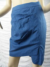VERONIKA MAINE cornflower blue cotton rouched pencil skirt size 6 BNWT