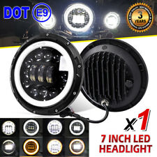 """7"""" Inch LED Headlight Projector HI/LO beam halo ring with amber For Motorcycle"""