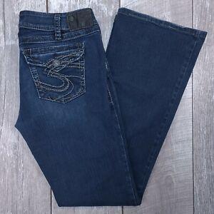 Silver Jeans Suki Surplus Mid Rise Bootcut Boot Women 32x34 Dark Blue Denim Wash