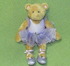 "Gund Kids BALLERINA Teddy AMANDA Bear Purple TuTu Ballet Shoes 14"" Tan Plush Toy"
