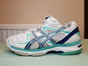 ASICS GEL NETBURNER 16 WIDE FIT WOMENS NETBALL SHOES WHITE BLUE SNEAKERS SIZE 6
