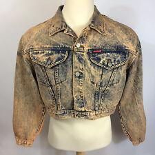 Vintage Womens Crop Top Acid Marble Wash Denim Jean Studed Jacket L Motorcycle