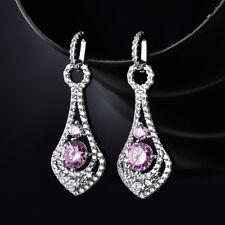 HUCHE Drop Dangle Hollow Silver Gold Filled Pink Diamond Sapphire Lady Earrings