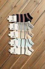 For Men Guys Athletic Sports Cotton Crew Ankle Sock 5 Pairs Lot Striped Pattern