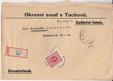 R-Marke Brief 1929 Tachov Tachau Einschreiben R-Zettel Tschechoslowakei Stempel