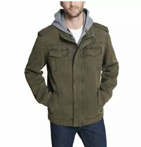 Levi's Men's Washed Cotton Military S Jacket with Removable Hood Standard Green