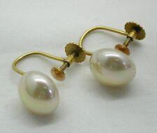 Vintage Preciosa par de oro 9ct y Perlas de pendientes