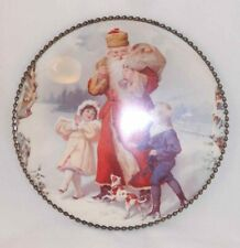 Vintage Round Flue Cover Beautiful Santa and Children Print Linked Metal Frame