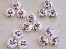 NEW 15 Mixed Christmas Buttons, Santa & Snowmen 15mm FREE P&P