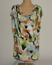 Simply Vera Wang Pastel Blue Green Brown Cowl Drape Neck Knit Top ~ XL