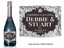 PERSONALISED silver Champagne label Birthday Anniversary Wedding Engagement gift
