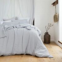 Bambury 100% French Linen Quilt Cover Set Silver