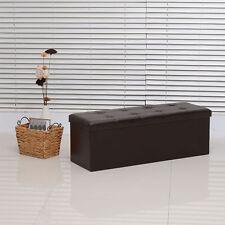 HOMCOM Rectangular Faux Leather Storage Ottoman Bench Folding